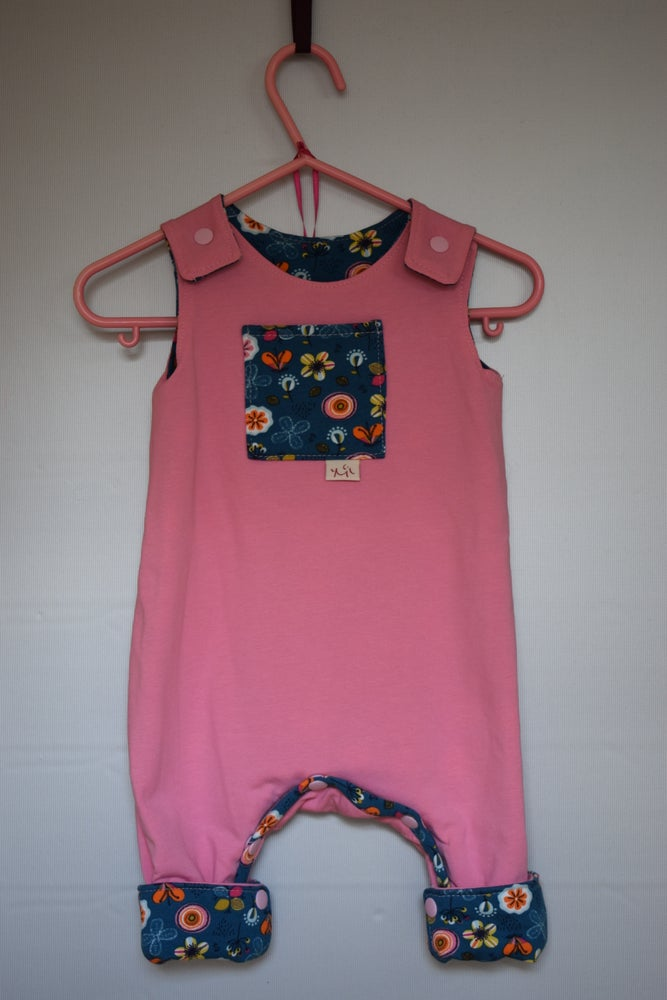 Image of Baby/Toddler Reversible Jersey Dungarees - Flowers