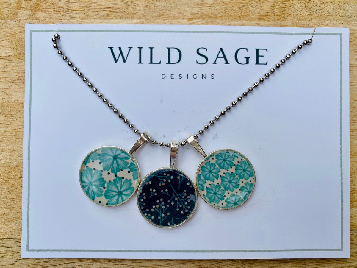 Image of Triple Resin Navy and Aqua Pendant