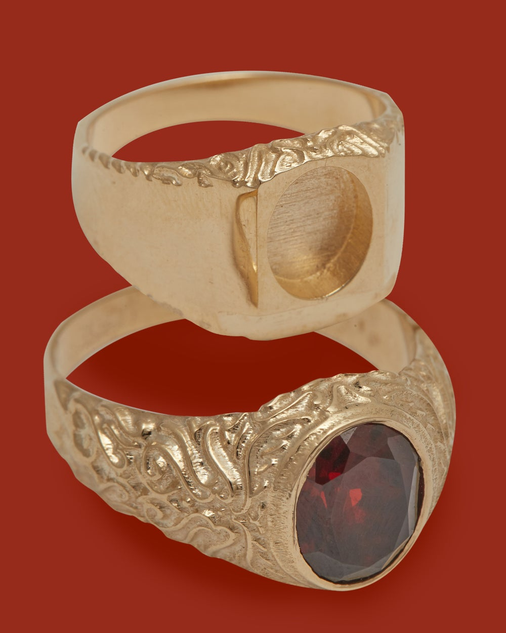 Image of RED GARNET CHAMBER RING