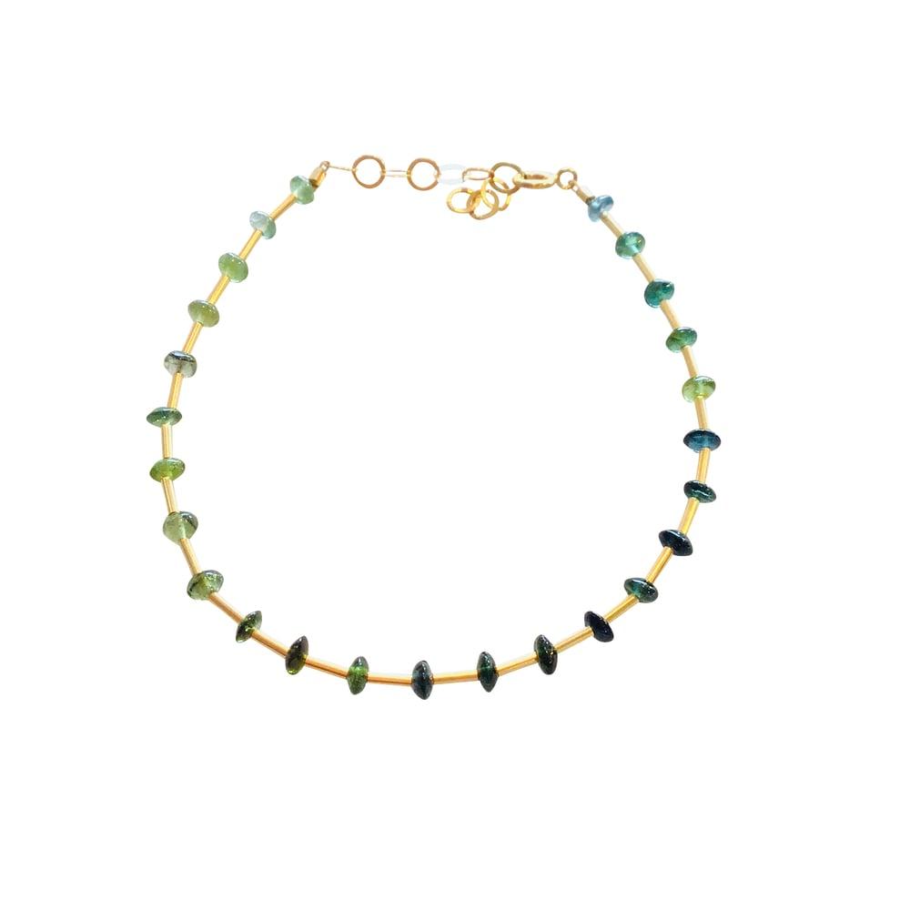 Image of Gold Filled Station Tourmaline/Opal Gemstone Bracelet