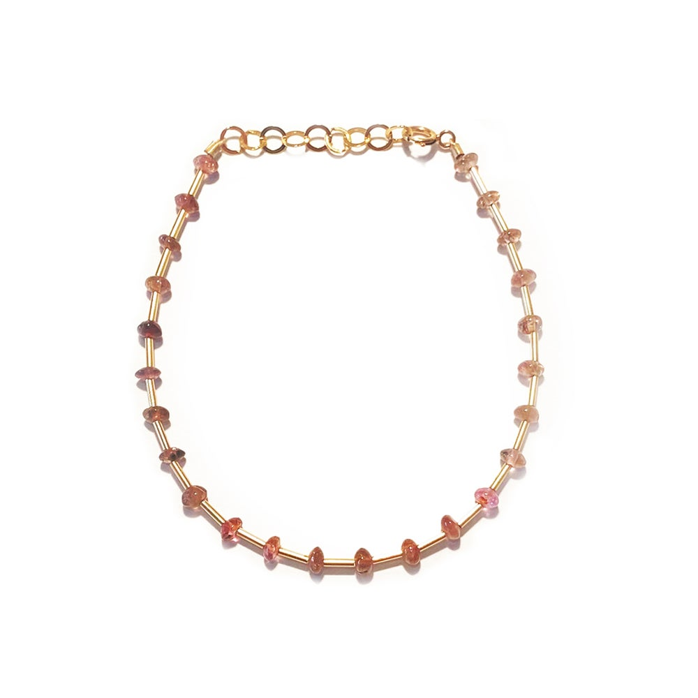 Image of Gold Filled Station Tourmaline/Opal Gemstone Bracelet