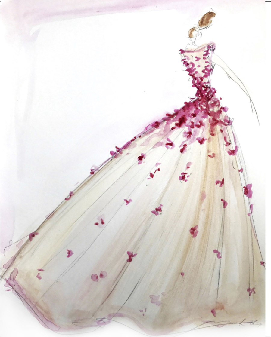 Image of Tulle Petal Appliqué Gown - Sketch Print