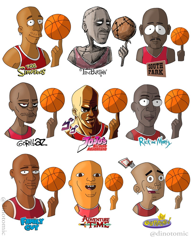 Image of #189 Michael Jordan drawn in many styles