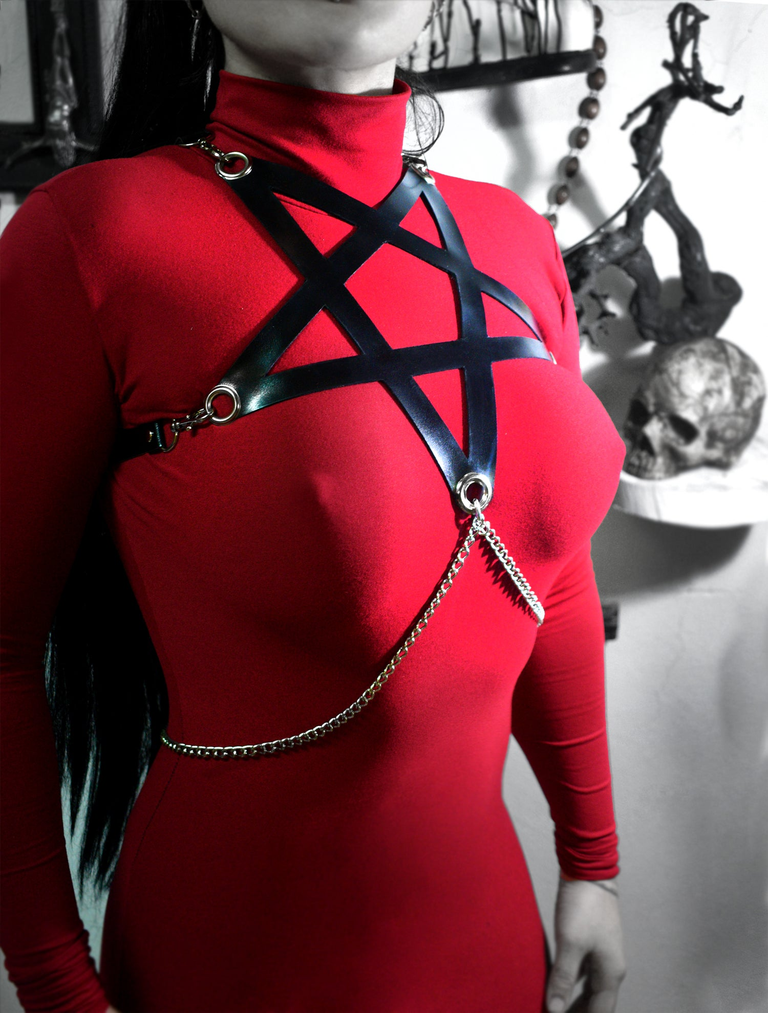 Image of Pentagram faux leather harness FREE SHIPPING