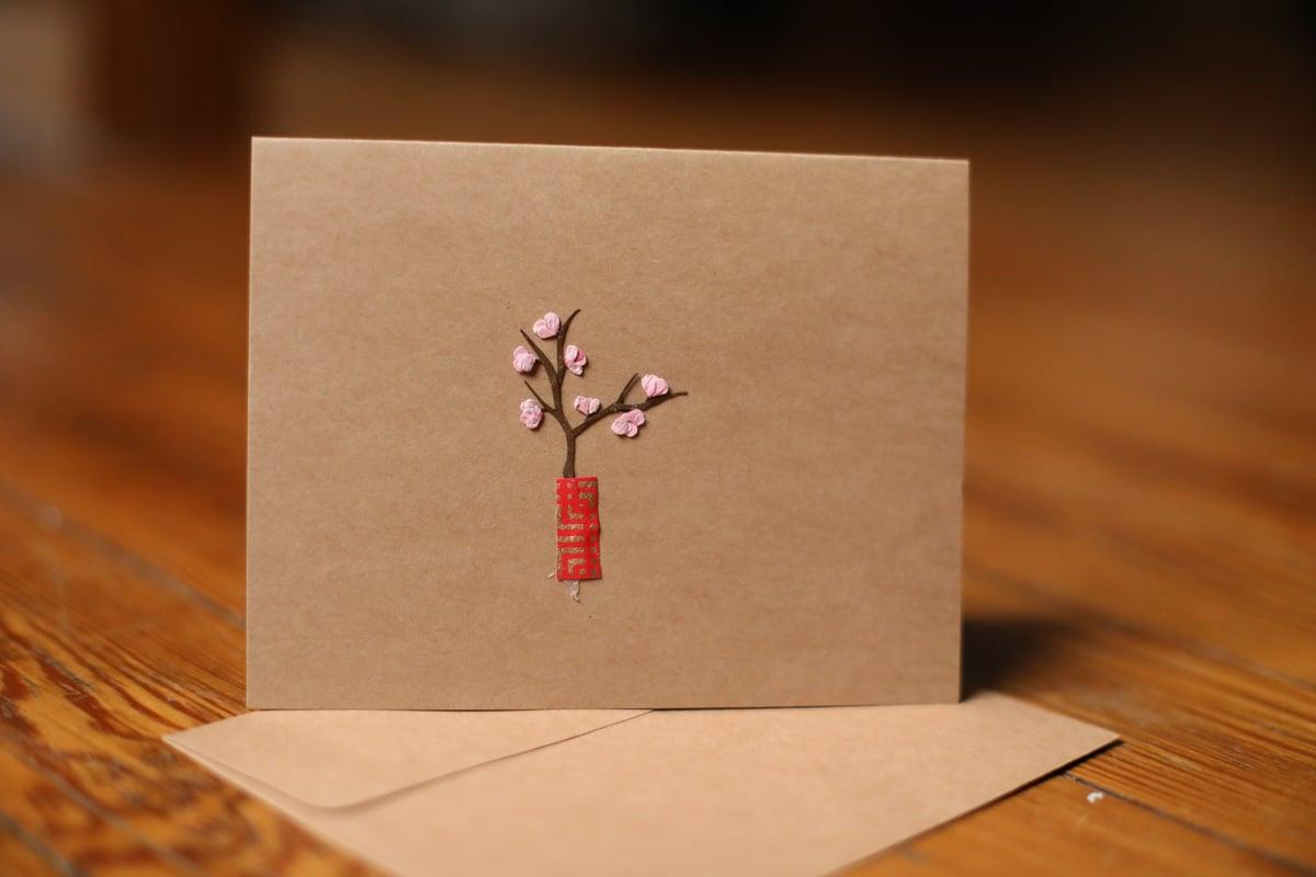 Image of Cherry Blossom in Vase Handmade Card