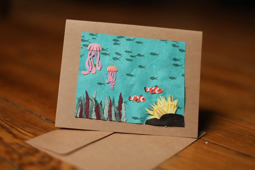 Image of Clownfish, Jellyfish, Seabed Handmade Card
