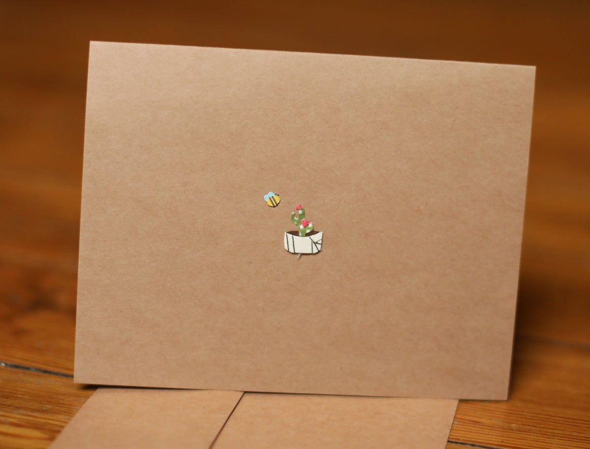 Image of Cactus and Bee Handmade Card