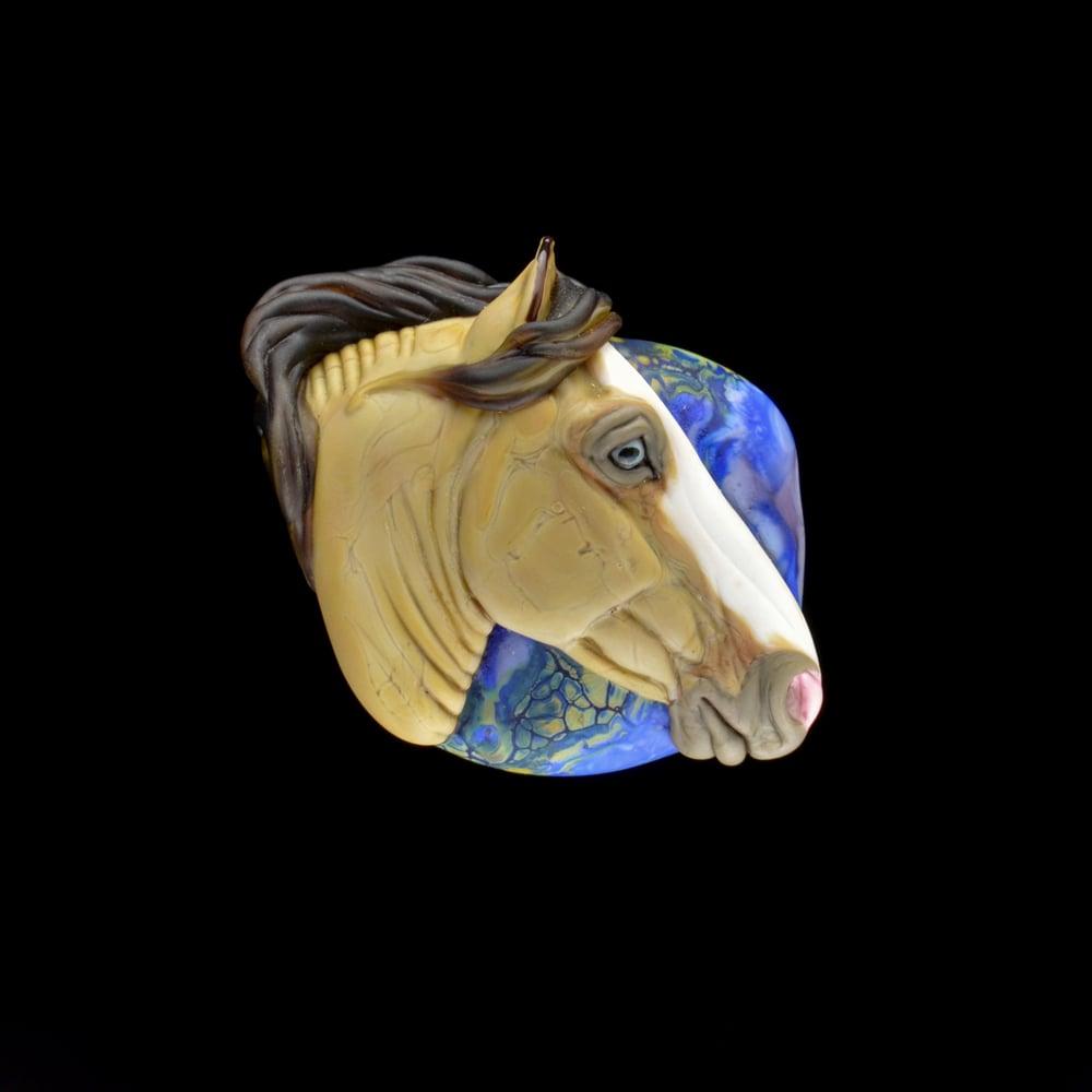 Image of XXL. Golaith - Honey Dun Stallion - Lampwork Glass Sculpture Bead
