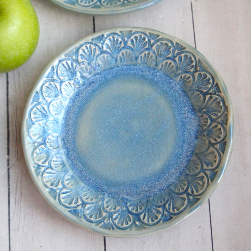 Image of Reserved for Natalie - Set of Four Dessert Dishes in Sea Glass Blue Glaze