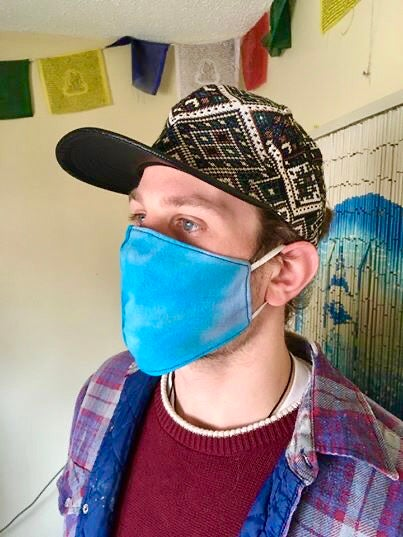 Image of  Blue Tie-Dye Reversible Soft Cotton Mask