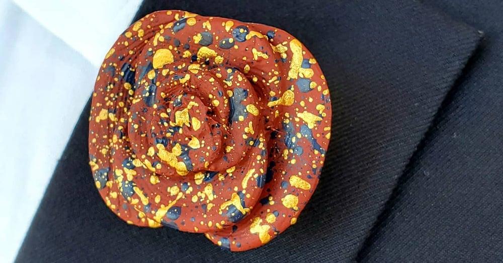 Burgundy Flower Lapel Pin w/Navy & Gold Paint Splatter
