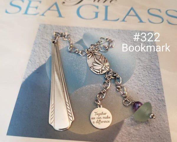 Image of Sea Glass- Fine Silver- Handmade- Dragonfly- Bookmark- #322