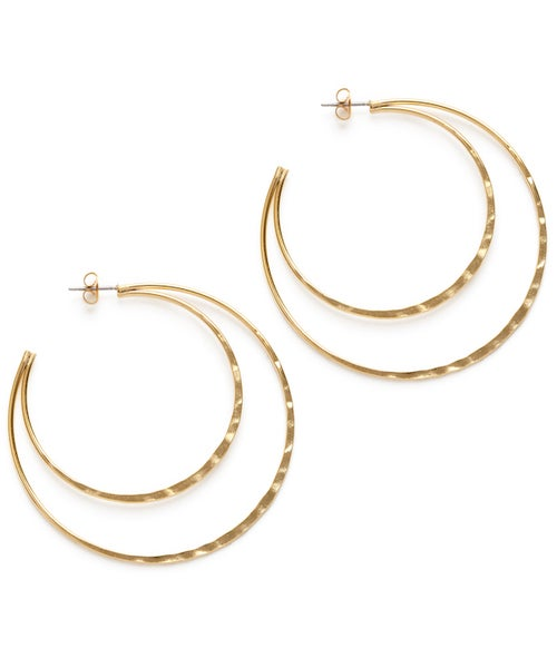 Image of Amano Gold Double Hammered Hoop Stud Earrings