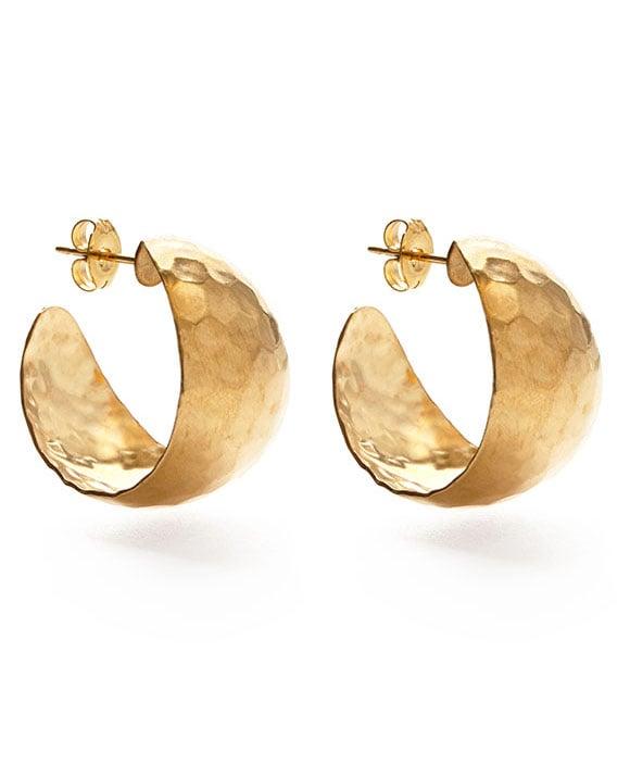 Image of Amano Vintage Hammered Gold Hoop Earrings