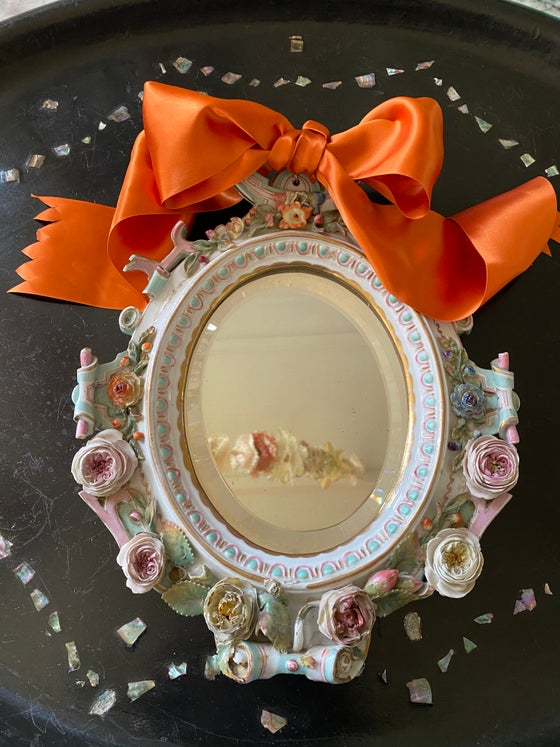 Image of Antique Porcelain Mirror