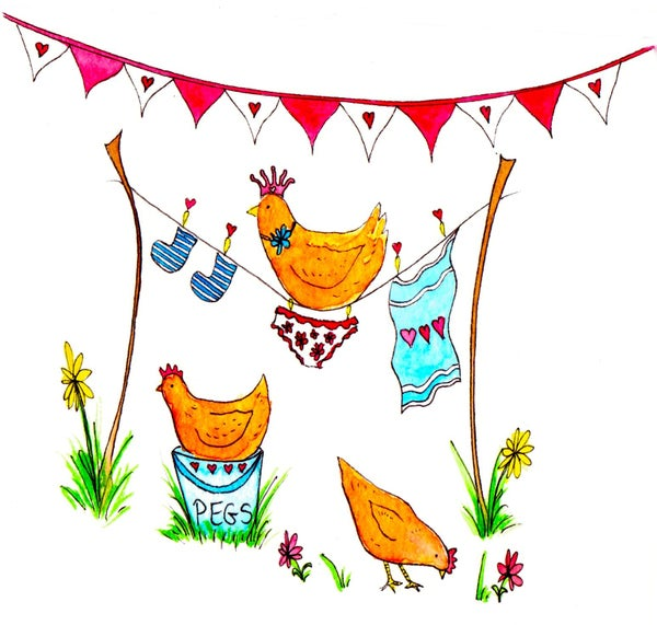 Image of Washing Chicks Greeting Card