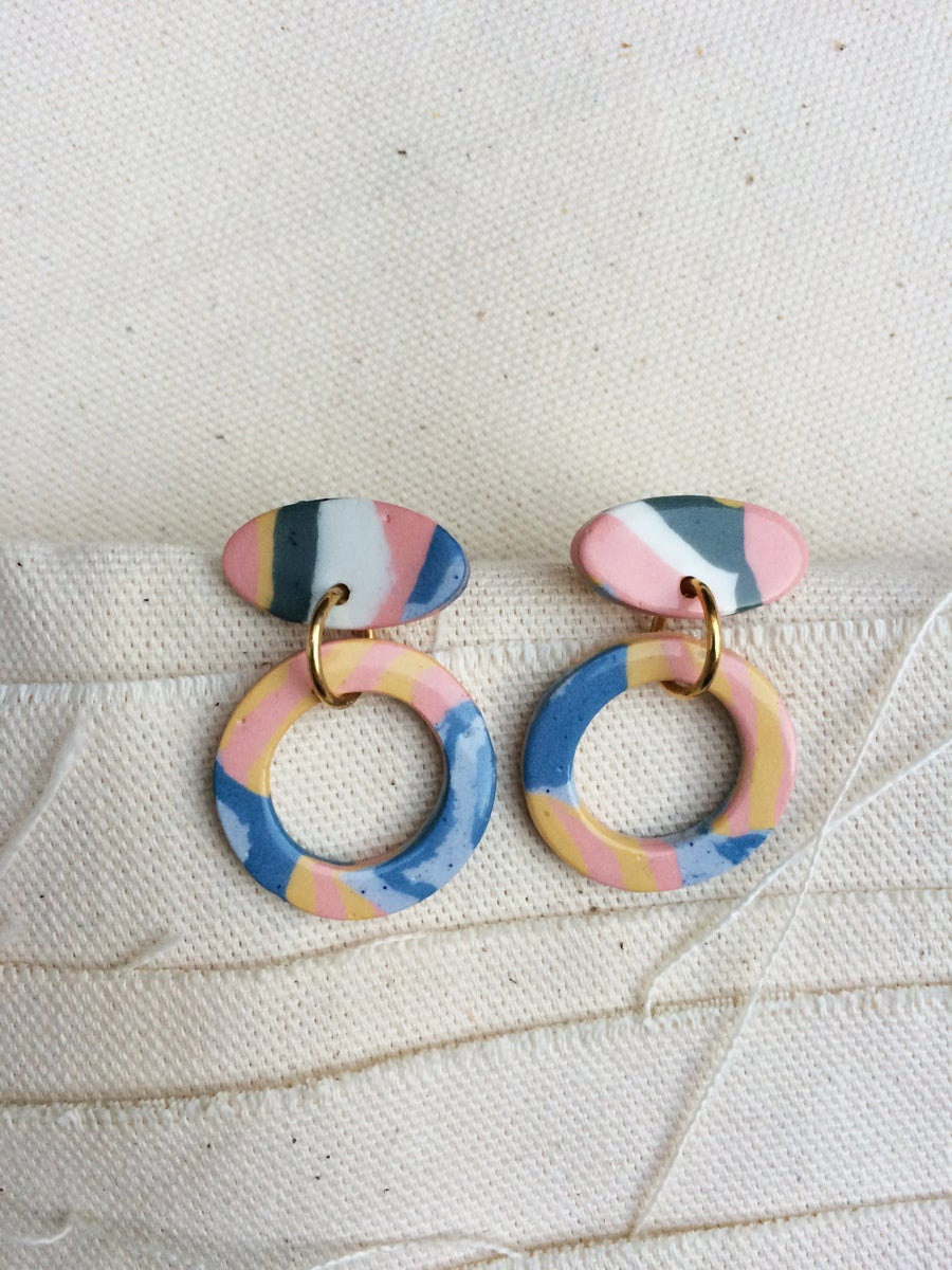 Image of Swirl - Hoop drop earrings - Small