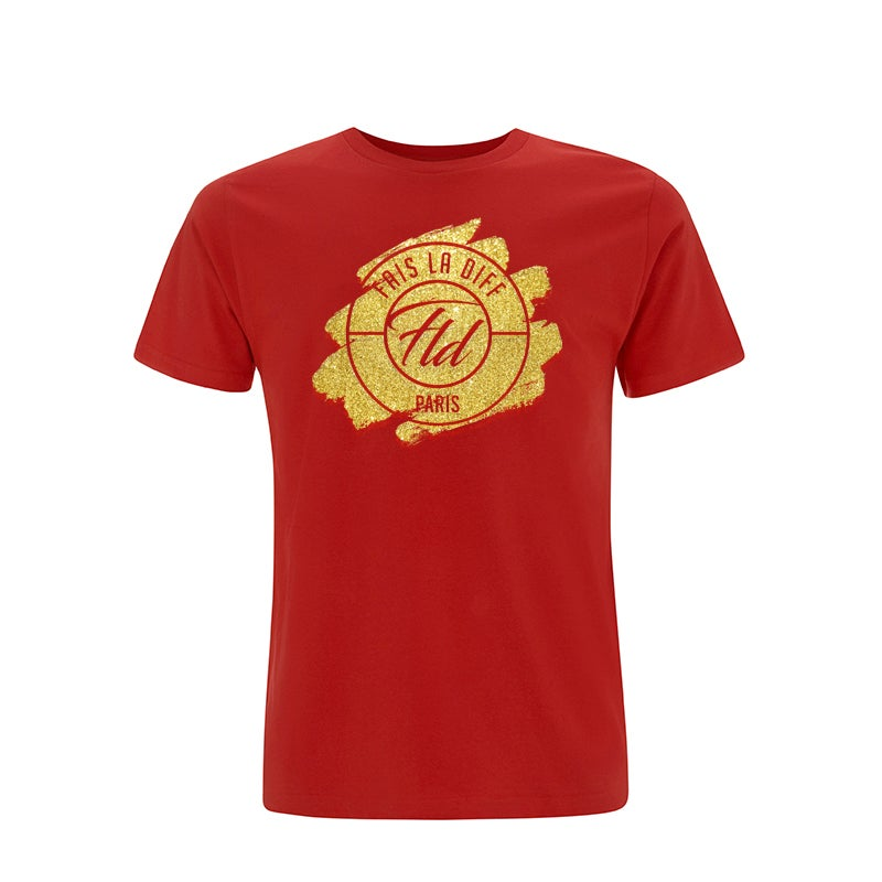 Image of TEE-SHIRT ROUGE FLD GOLD - FAIS LA DIFF