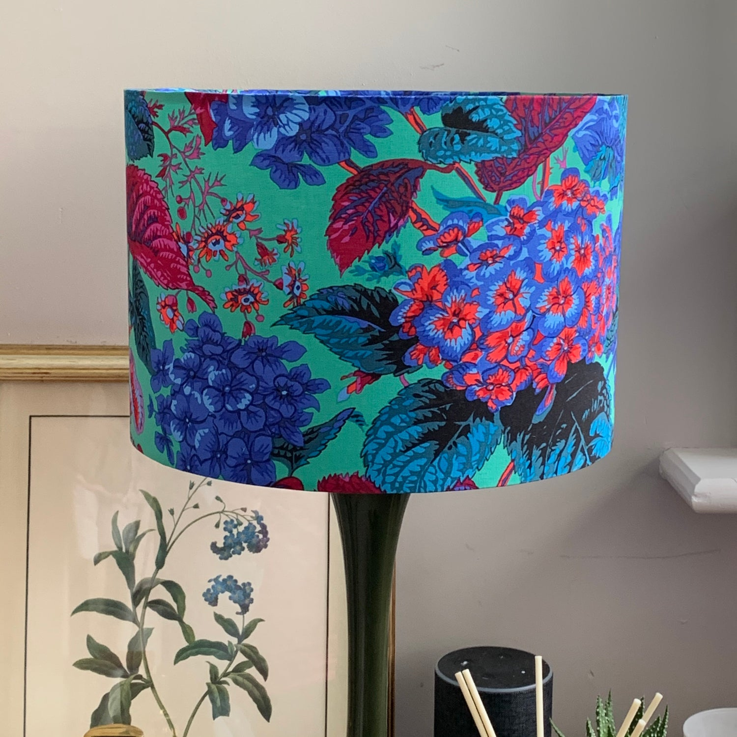 Image of Rose and Hydrangea Blue Shade 30cm