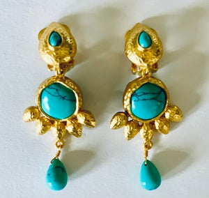 Image of clip on turquoise earrings
