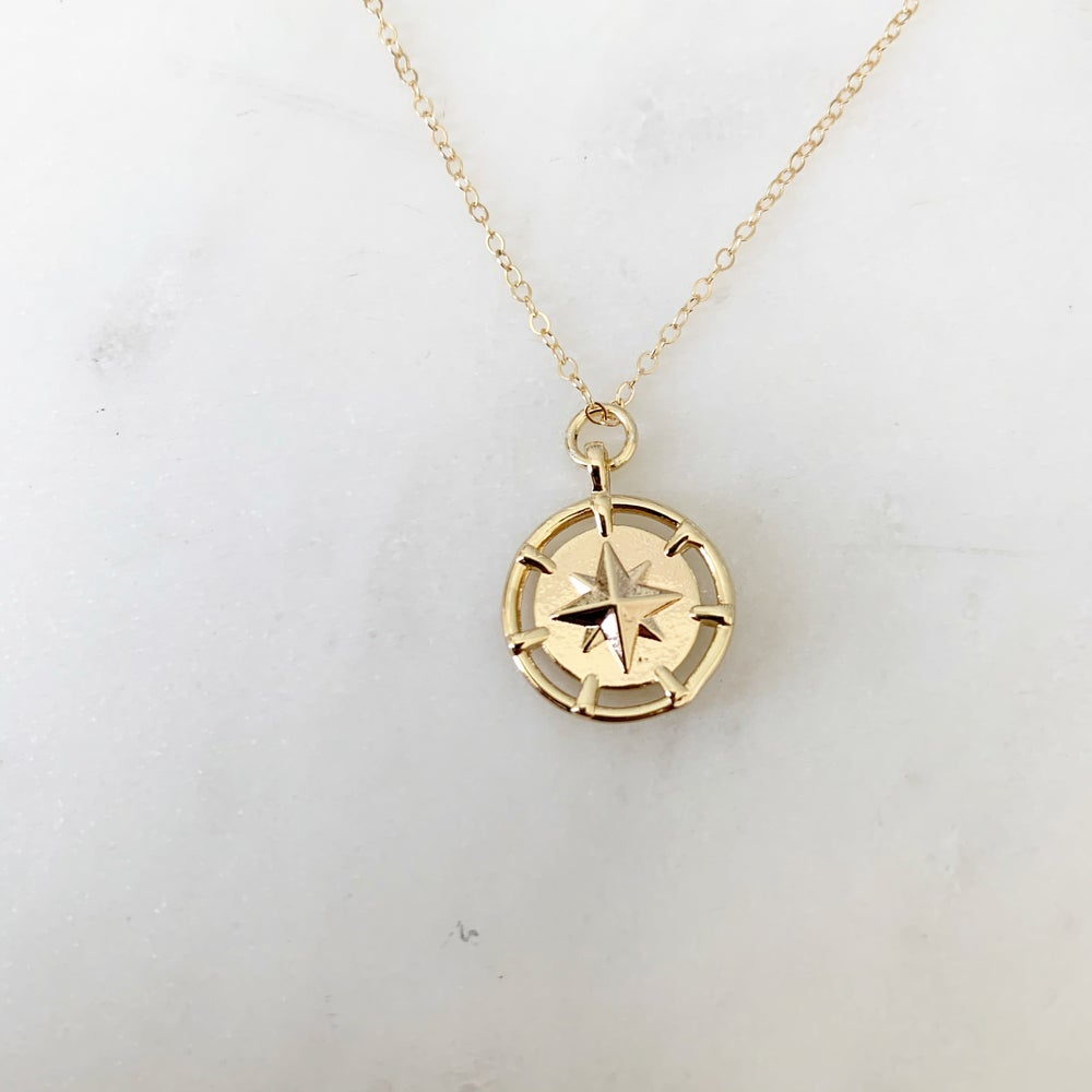 Image of Gold fill compass necklace