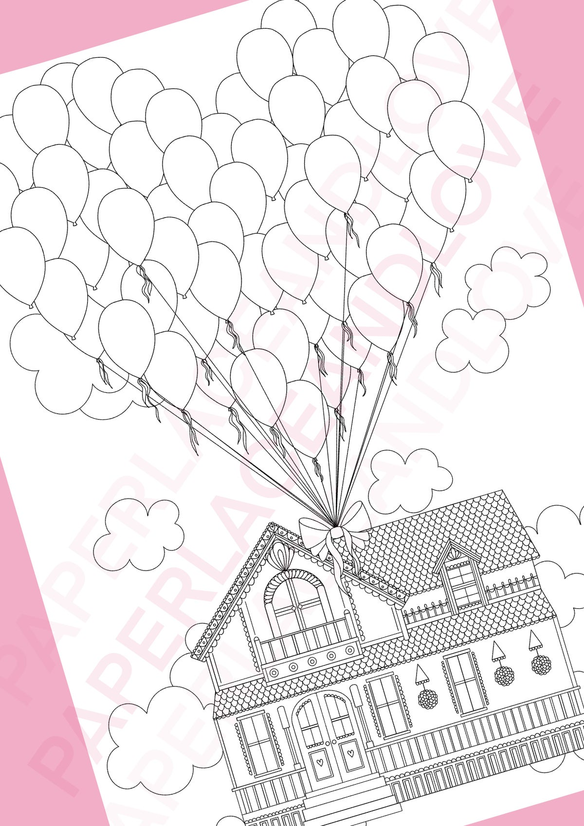 Image of Up Up And Away Colouring Page