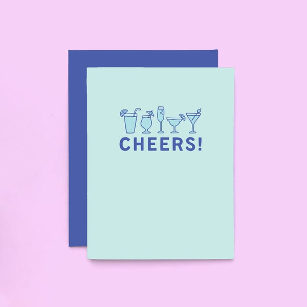 Image of cheers letterpress card - congratulations greeting card - wedding card