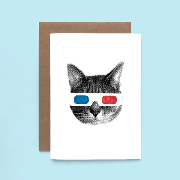 Image of gee whiskers series: 3D glasses cat greeting card - retro cat