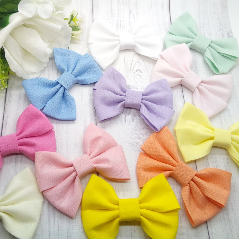 Image of Choose Your Colour - Cotton Pinch Bows - Choice of headband or Clip