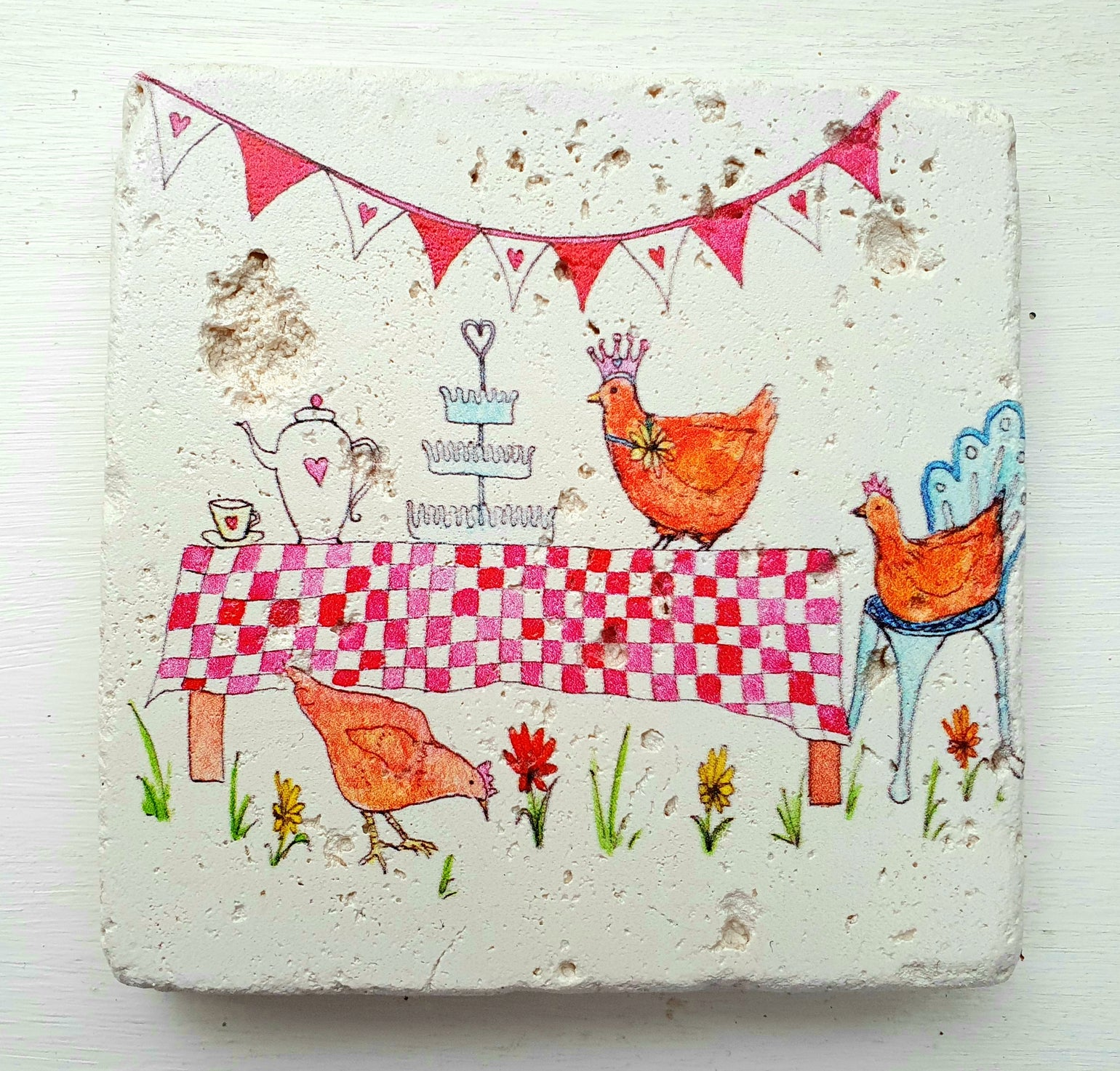 Image of Chicken Tea Party Stone Coaster