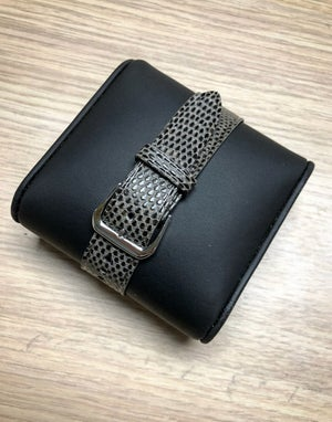 Image of Moss Green/Gray Lizard tapered one-piece watch strap