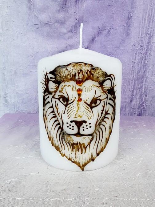Image of 3 x 4 Lion Henna Pillar Candle