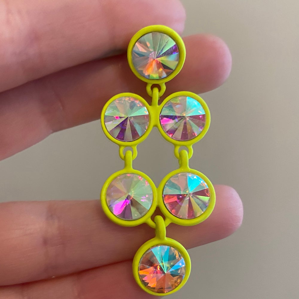 Image of Neon Yellow Gem Dangles (Sizes 0g-00g)