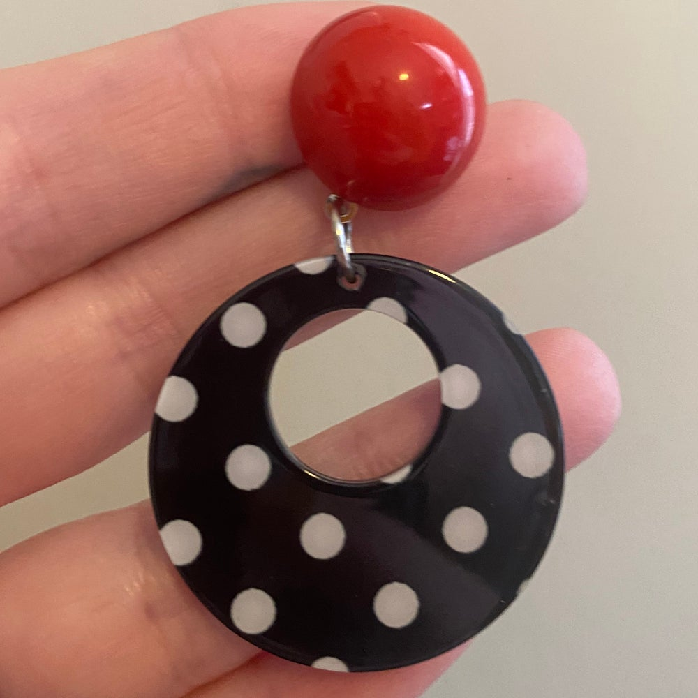 Image of Red Polka Dot Dangles (sizes 0g-9/16)