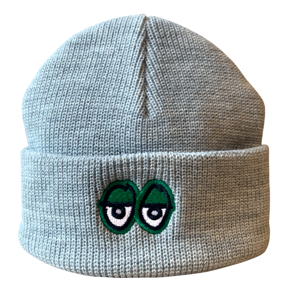 Image of Krooked Eyes Beanie - Grey / Green