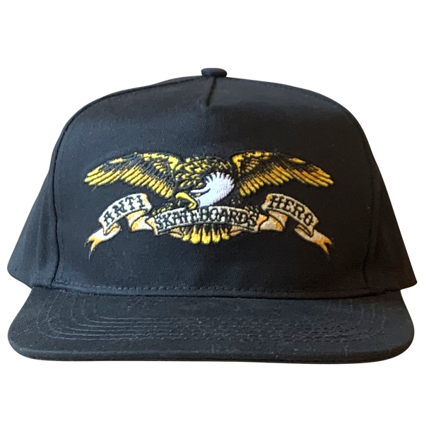 Image of Antihero Embroidered Eagle Snapback - Black