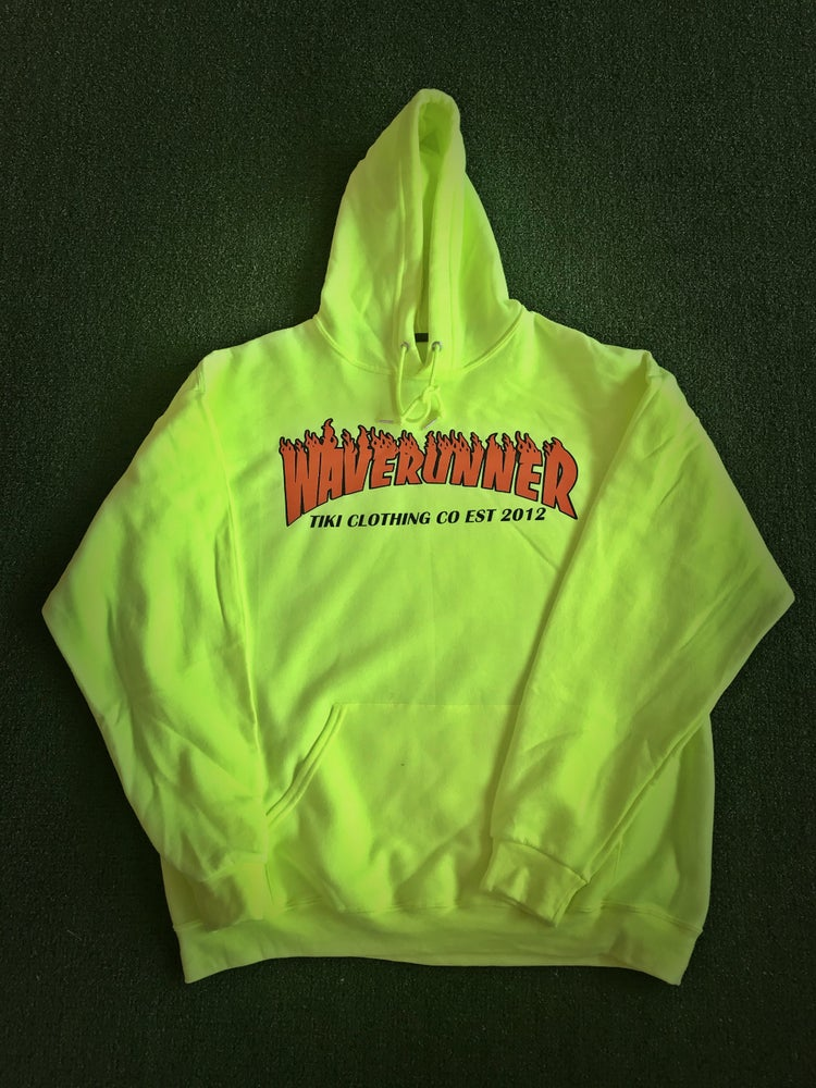 Image of Safety Green Waverunner Flame Hoodie(EST 2012)