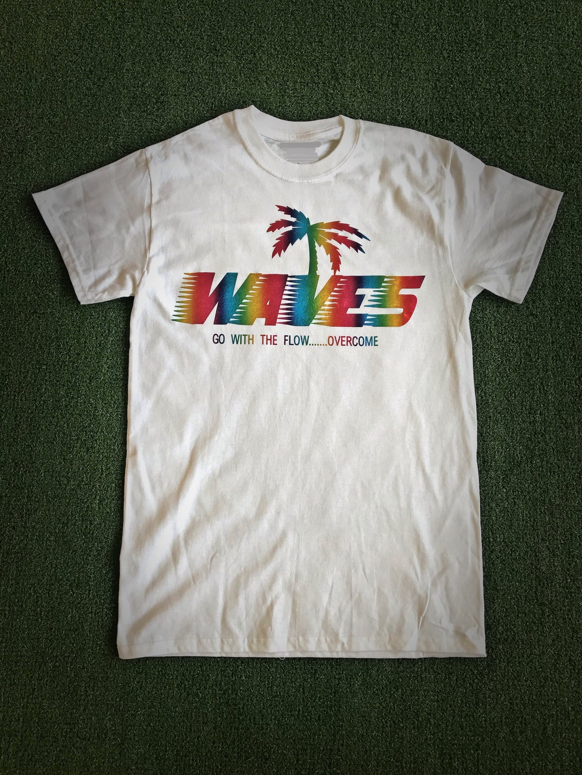 Image of Tiki Waves Metallic Rainbow Logo Graphic T-Shirt(White)
