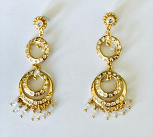 Image of triple drop crystal earrings