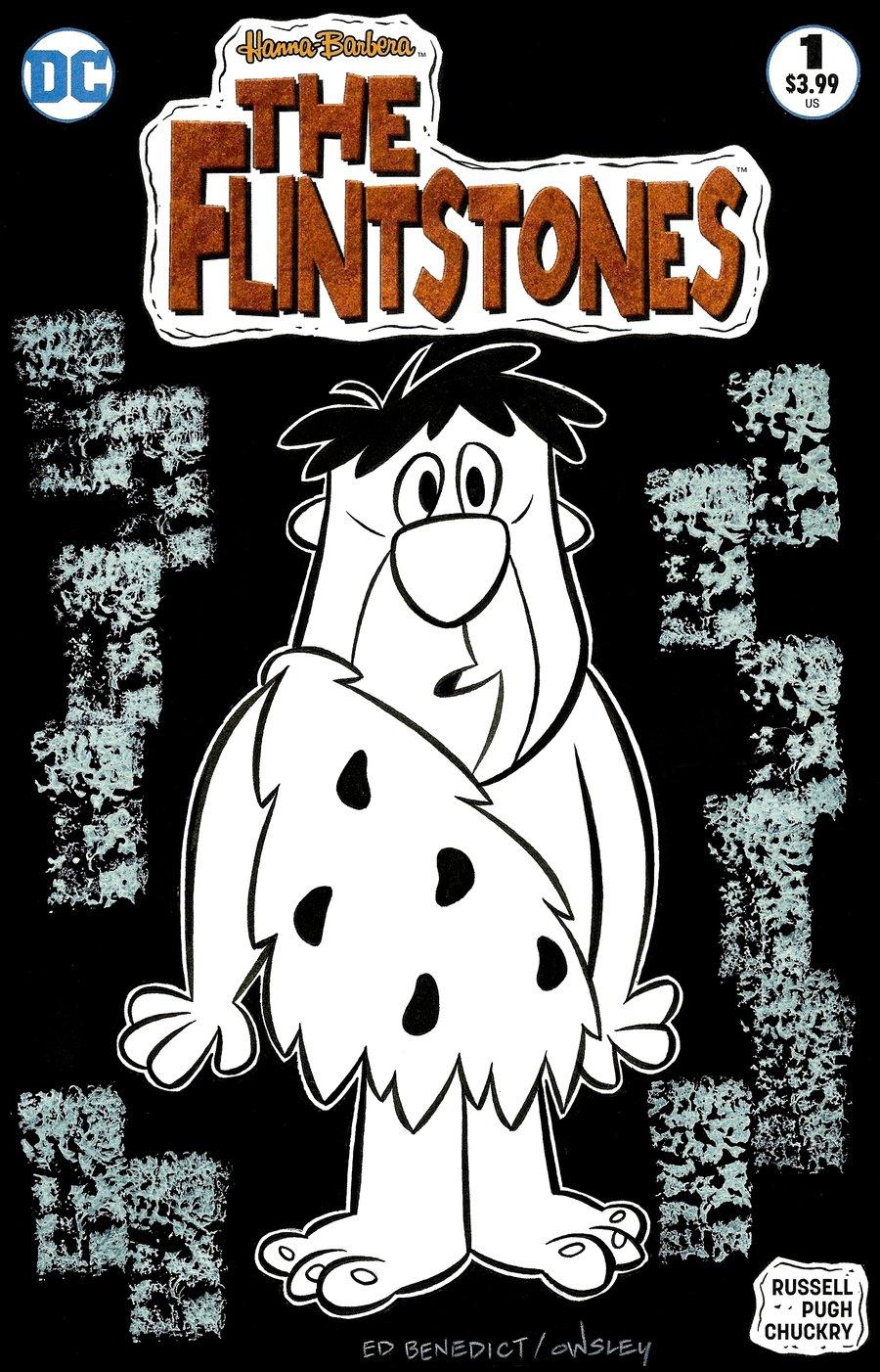 Image of FRED FLINTSTONE! THE FLINTSTONES ORIGINAL ART SKETCH COVER! ED BENEDICT TRIBUTE!