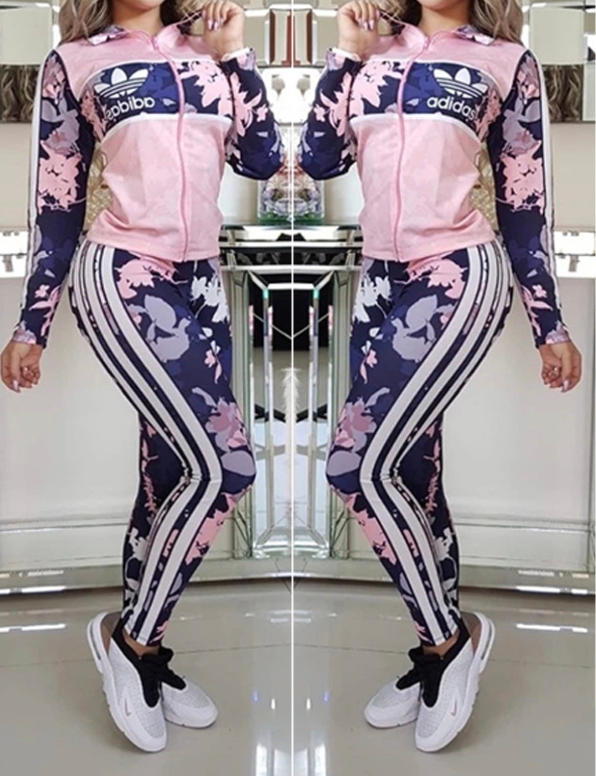 Image of Floral Adidas Track Suit