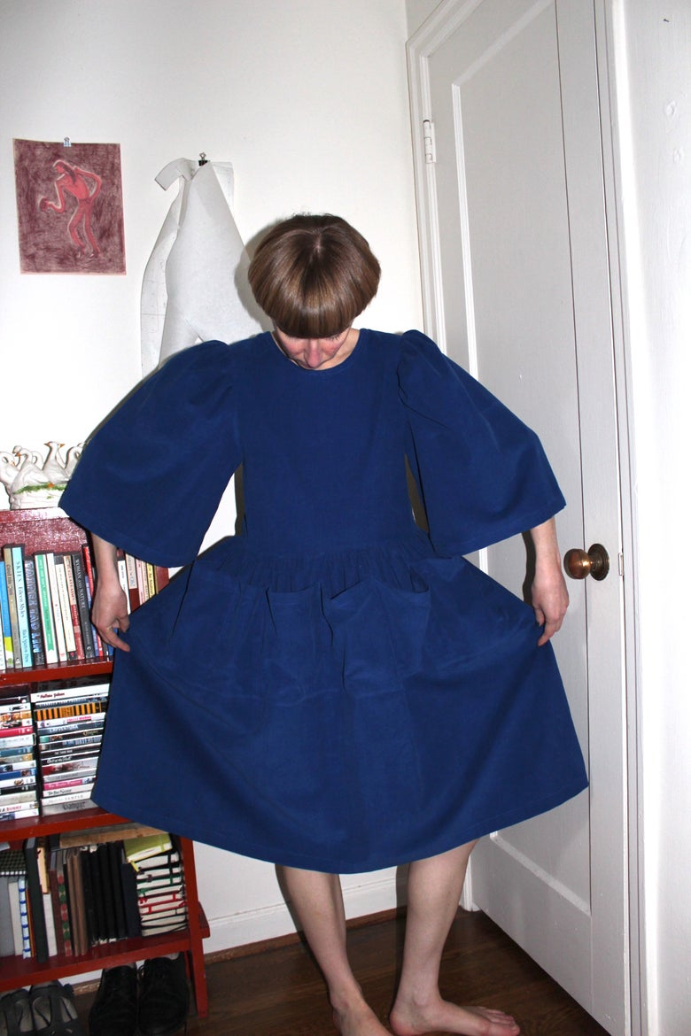 Image of Veronica Dress - Blue Corduroy