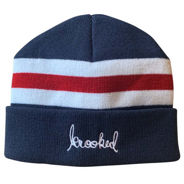 Image of Krooked Skript Striped Beanie