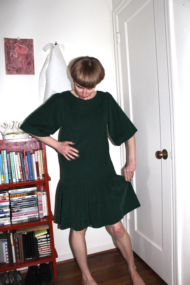 Image of Drop Waist Sailor Dress - Forest Green