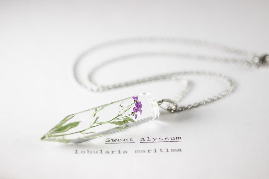 Image of Sweet Alyssum (Lobularia maritima) - Medium Crystalline Pendant #1