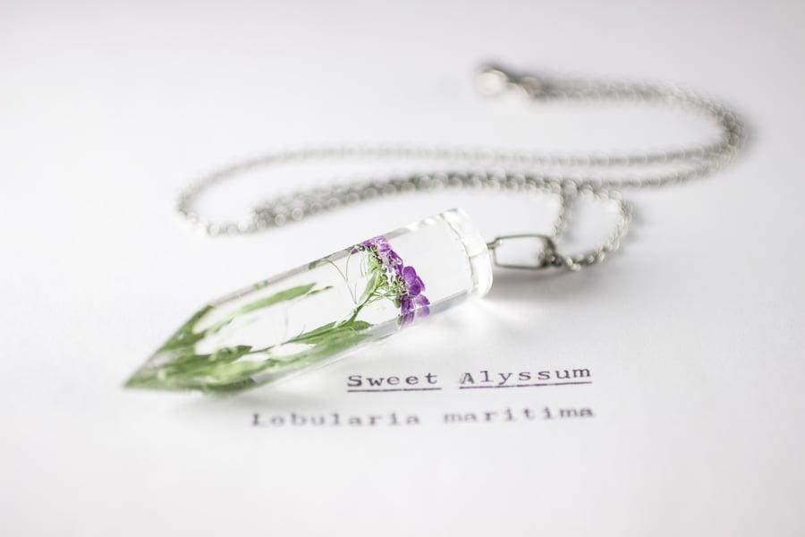 Image of Sweet Alyssum (Lobularia maritima) - Medium Crystalline Pendant #2