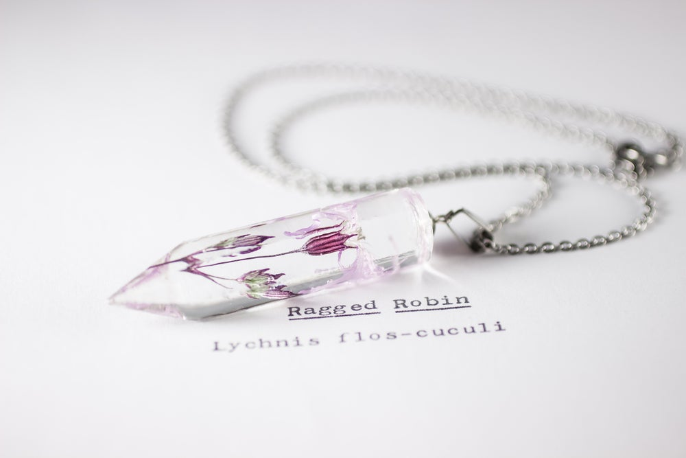 Image of Ragged Robin (Lychnis flos-cuculi) - Medium Crystalline Pendant #3