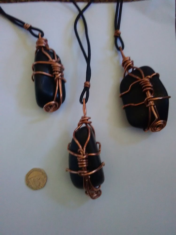 Image of Non-Elite Shungite Pendant Necklaces On Leather or Corded Necklaces