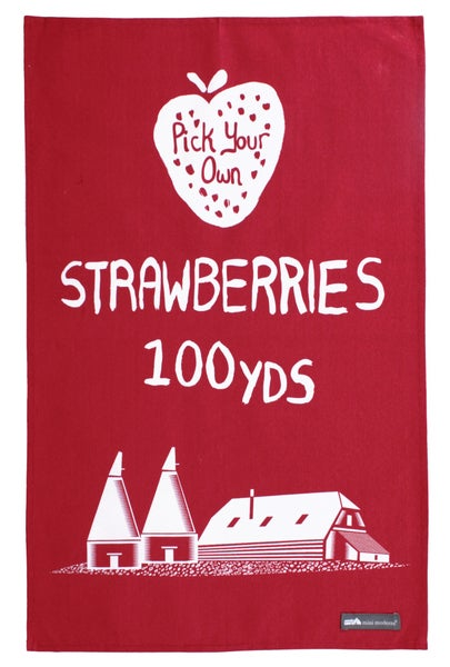 Image of Pick Your Own Strawberries Tea Towel