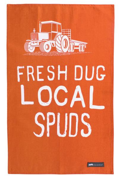 Image of Fresh Dug Local Spuds Tea Towel